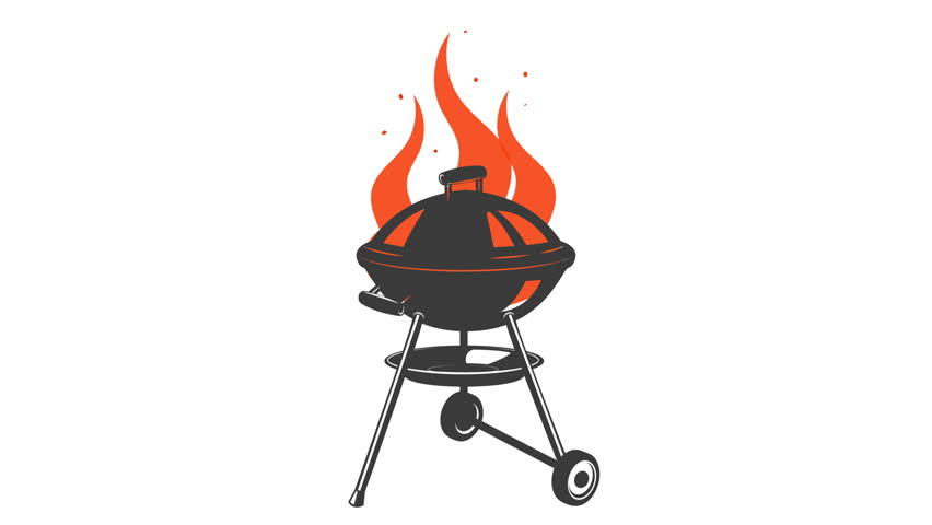 Fire animation in vintage grill illustration | Shutterstock HD Video #24127396