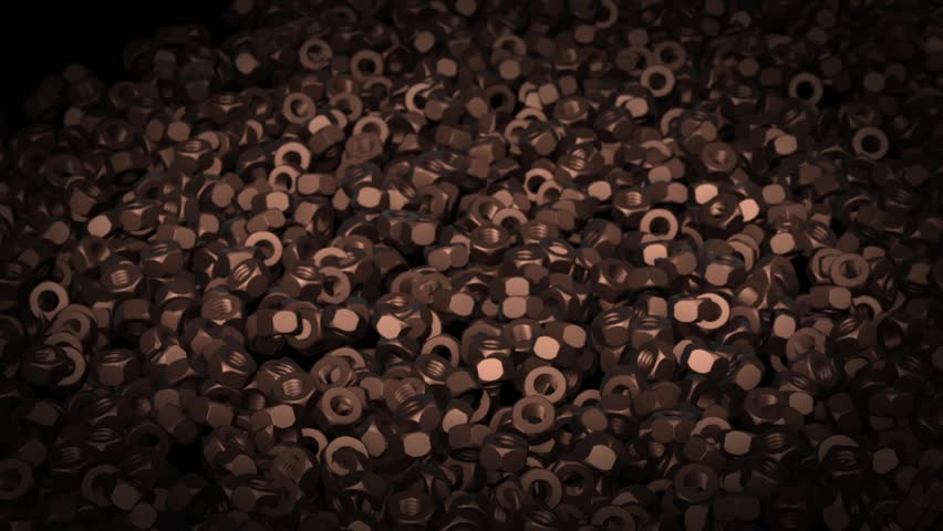Abstract background animation of dark metal nuts | Shutterstock HD Video #24143011