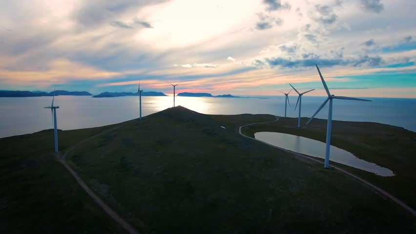 Windmills for electric power production. Arctic View Havoygavelen windmill park, Havoysund, Northern Norway Aerial footage. | Shutterstock HD Video #24161785