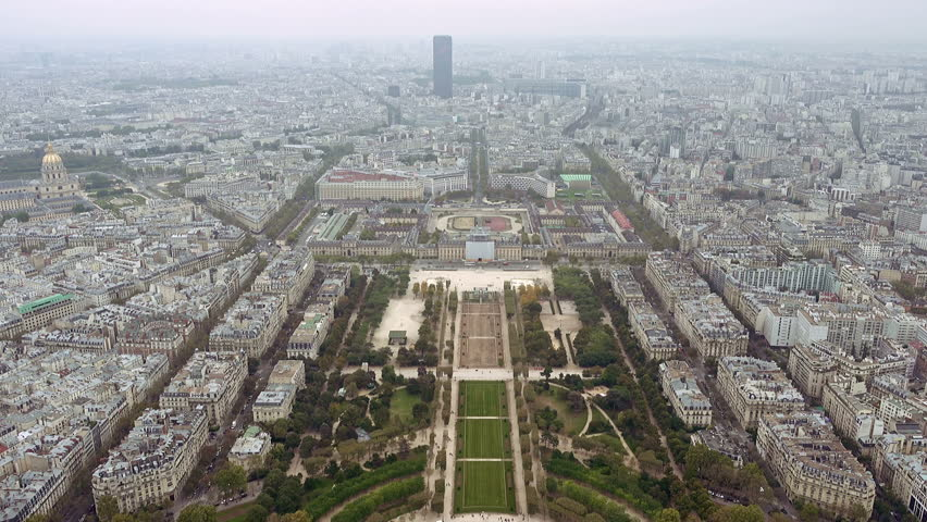 Paris aerial view of Champ de Mars or Field of Mars the large public greenspace in Paris, France   Shutterstock HD Video #24182521