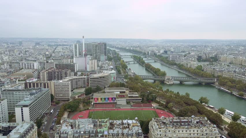 Paris aerial view of Seine river and bridge in Paris France   Shutterstock HD Video #24182530
