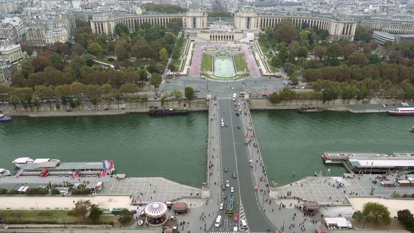 Paris aerial view of Trocadero, Seine river and Jena bridge in Paris, France   Shutterstock HD Video #24182539