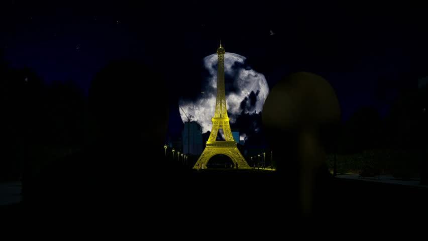 Eiffel Tower in Paris under full moon, romantic couple   Shutterstock HD Video #24186976