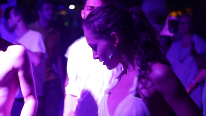 ANAKLIA, GEORGIA - AUGUST 22, 2016. Young girl dancing on the dance floor at party in night club | Shutterstock HD Video #24208711