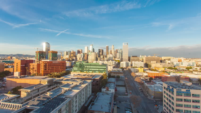 4K Hyperlapse ( timelapse in motion ) of the Los Angeles Downtown skyline at sunset with beautiful clouds.  | Shutterstock HD Video #24213571