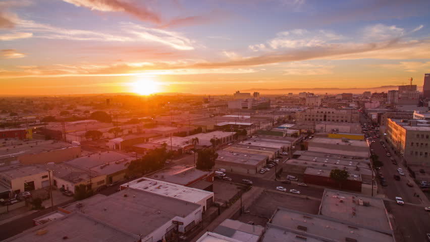 4K Aerolapse ( aerial hyperlapse / timelapse ) of the city skyline at spectacular sunset. Downtown, Los Angeles.  | Shutterstock HD Video #24213589