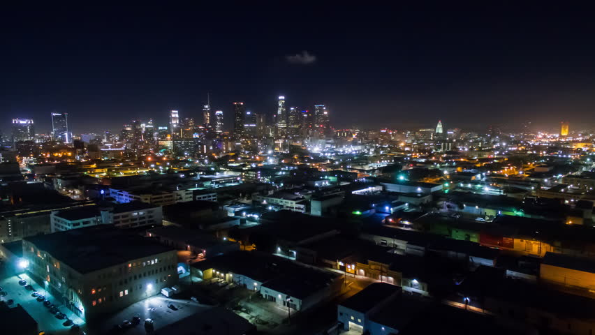 4K Aerolapse ( aerial timelapse / hyperlapse ) of the city view and city skyline at Los Angeles in Downtown Los Angeles. | Shutterstock HD Video #24214993