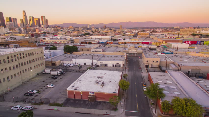 4K Aerolapse ( aerial timelapse / hyperlapse ) of the city view and city skyline at dusk in Downtown Los Angeles. | Shutterstock HD Video #24215002
