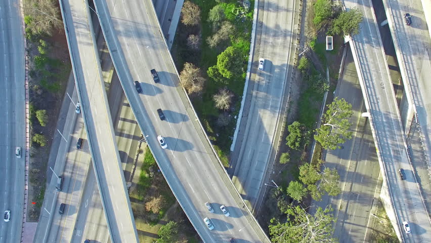 4K Aerial top down view of the traffic on 101, 134 and 170 freeways interchange during a day. Van Nuys, Los Angeles. | Shutterstock HD Video #24215011