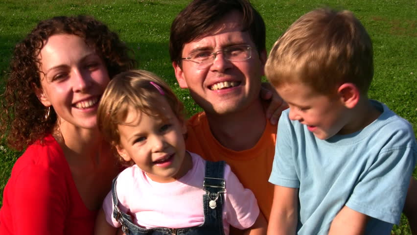 family of four faces  - HD stock footage clip