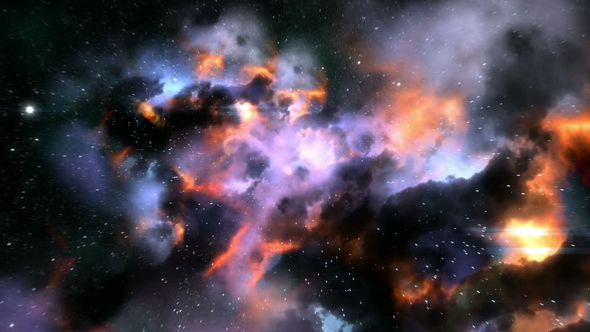 Magnificent space flight through colorful nebulae