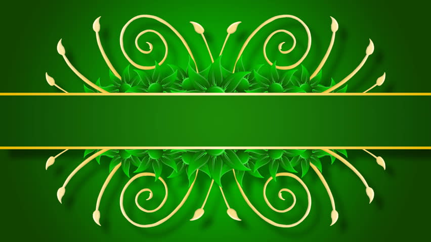 Growing Golden Title Frame And Flowers On Green Background. HD CG Animation. Stock Footage Video ...