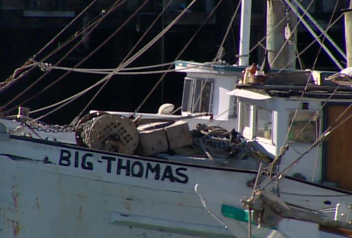 SAN FRANCISCO - Circa 2002: Fishing boats in Fisherman's Wharf in San Francisco in 2002. - SD stock video clip