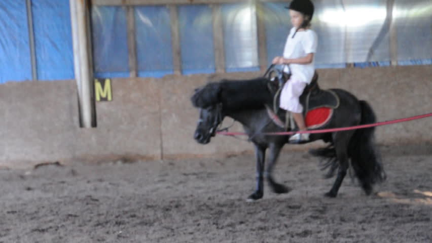 Child riding a pony - HD stock footage clip