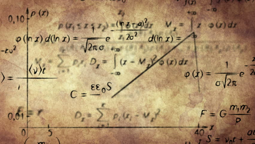 math physics formulas on old paper. computer generated loopable motion background. HD 1080 progressive
