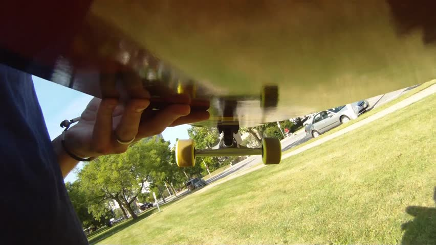 Camera mounted under a skateboard/ Skateboarding