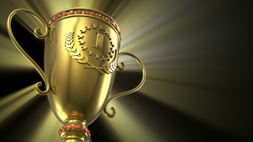 Award winning and championship concept: seamless loop golden glowing trophy cup on black background - HD stock video clip