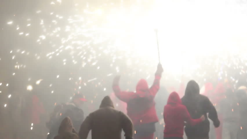 The correfoc, of fire run during the la merce festival in Barcelona. 10 September 2011, Barcelona, Spain