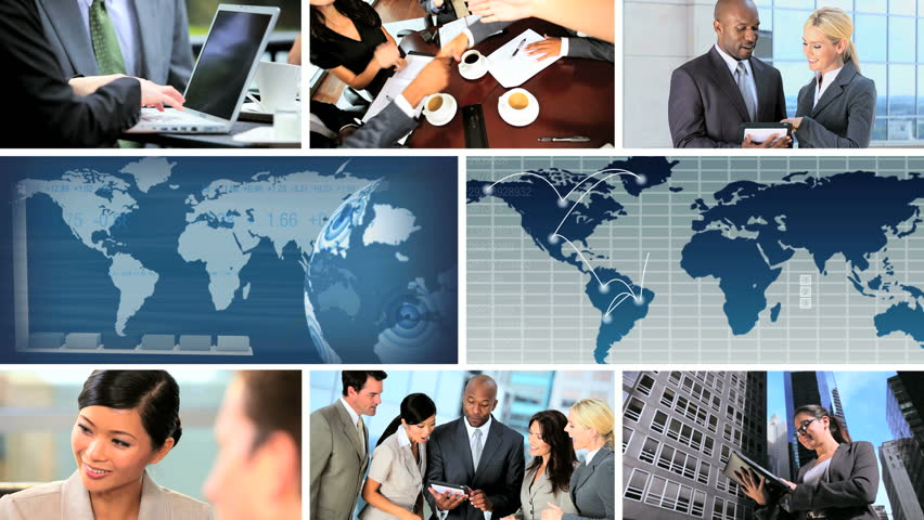 Global business montage images featuring successful achievements, worldwide