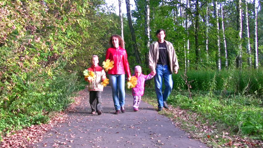 family of four walking in autumn park  - HD stock video clip