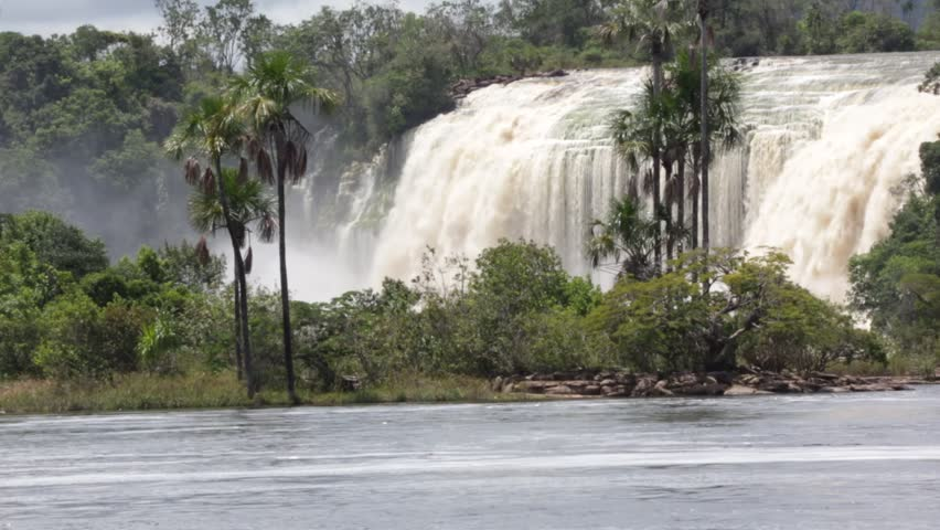 Hacha waterfall in the lagoon of Canaima national park - Gran Sabana, Venezuela, Latin America - HD stock video clip