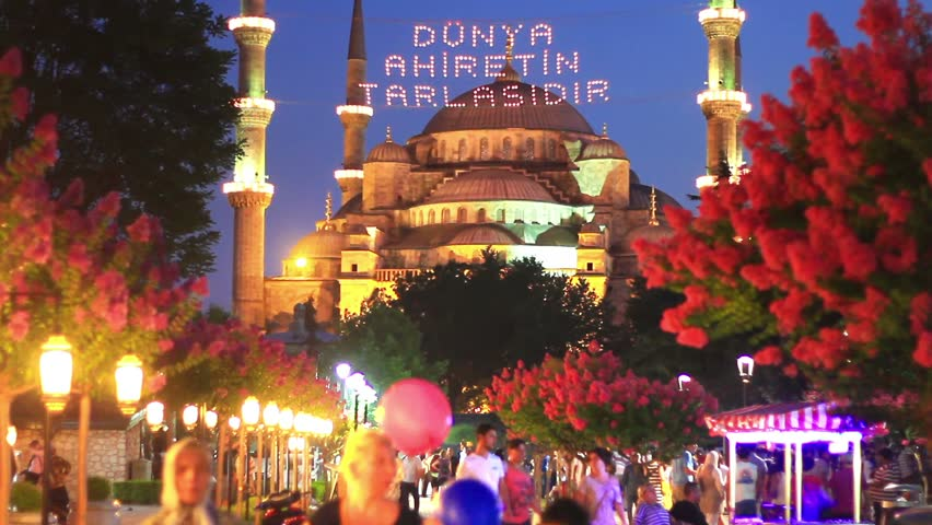 ISTANBUL - JULY 25: Blue Mosque on night, July 25, 2012 in Istanbul. Mosque built to rival Hagia Sophia, they located next to each other and it is hard to decide which is more extraordinary structure - HD stock video clip