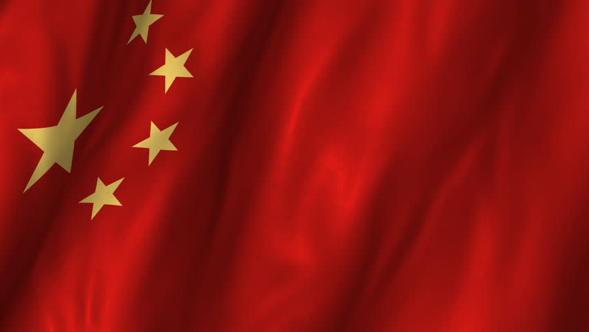A beautiful satin finish looping flag animation of China.    A fully digital rendering using the official flag design in a waving, full frame composition.  The animation loops at 10 seconds.   - HD stock video clip