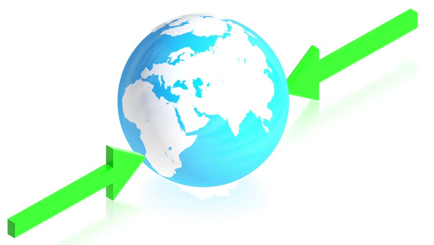 3D animation of earth with arrows for use in presentations, manuals, design, etc.