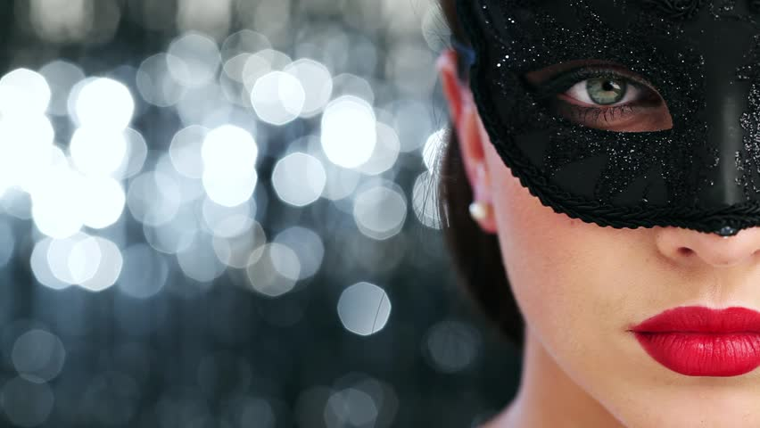 Macro closeup of sexy woman wearing masquerade mask at party 1920x1080 - HD stock video clip