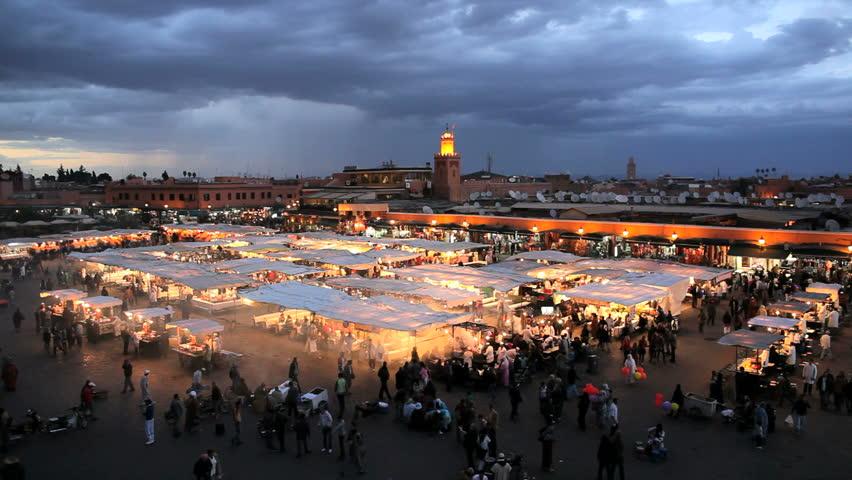 Elevated view over Djemaa el-Fna night market, Marrakech (Marrakesh), Morocco