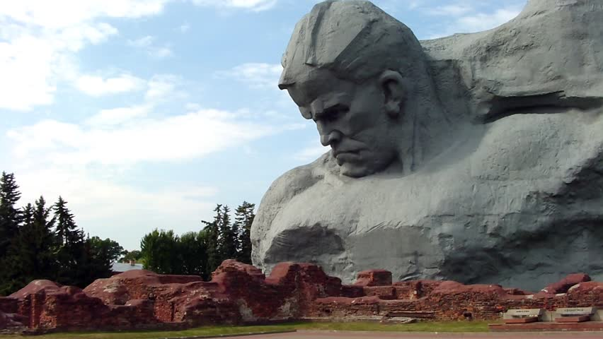"BREST, BELARUS - AUGUST 4: The ""Courage"" monument at the Brest Fortress on August 4, 2012 in Brest, Belarus. Here began the invasion of Hitler's Germany on the USSR in 1941. - HD stock video clip"