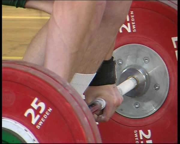 25 Oct, 2008, the Baltic States, competition in weightlifting. Athletes compete for the title of champion of Europe - SD stock footage clip