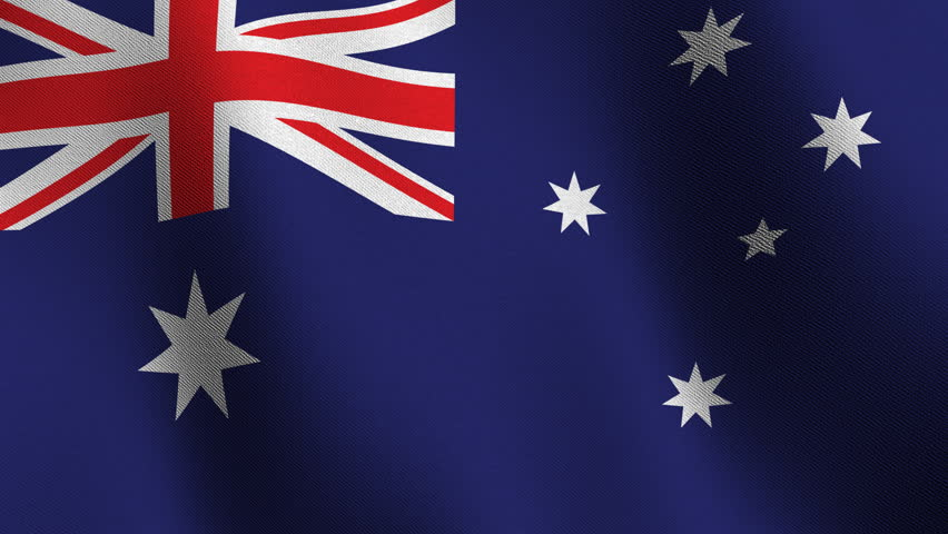 Flag of Australia waving in the wind  - very highly detailed fabric texture - seamless looping - HD stock video clip