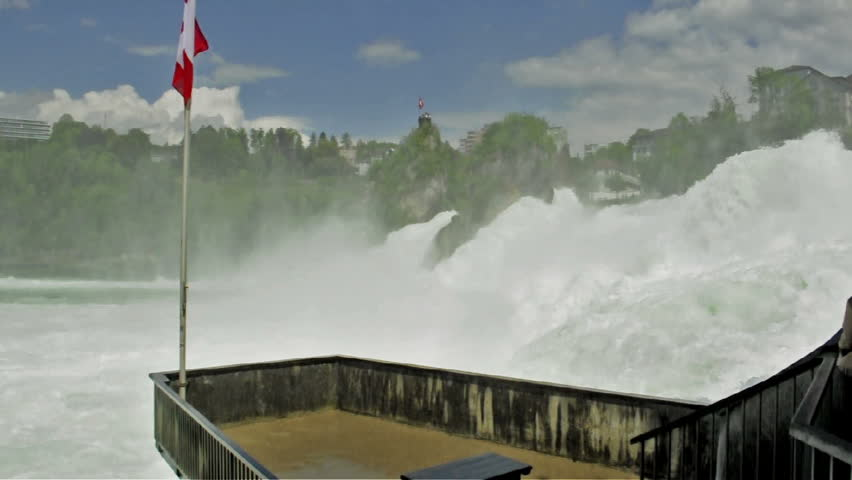 Balcony over Rhine Falls in Switzerland. Part of the famous waterfalls of the river Rhine (Rhein) in Schaffhausen (with sound) - HD stock footage clip
