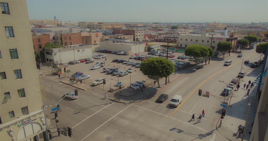 Downtown Los Angeles crossroads timelapse, bird eye view.  | Shutterstock HD Video #27169531