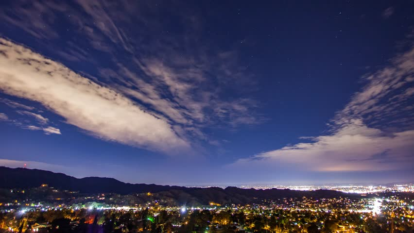 Los Angeles, California. Fast wispy clouds over a night-time suburban neighborhood. | Shutterstock HD Video #27180340