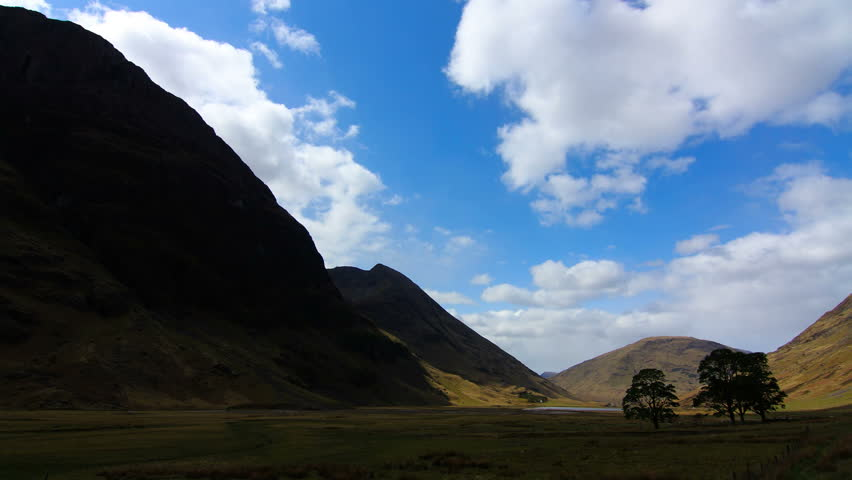 Glencoe, Scotland. Sunny day time lapse - HD stock video clip