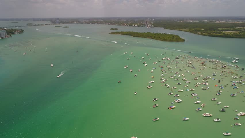 Memorial Day weekend at the sand bar Miami Beach aerial drone video #27386719