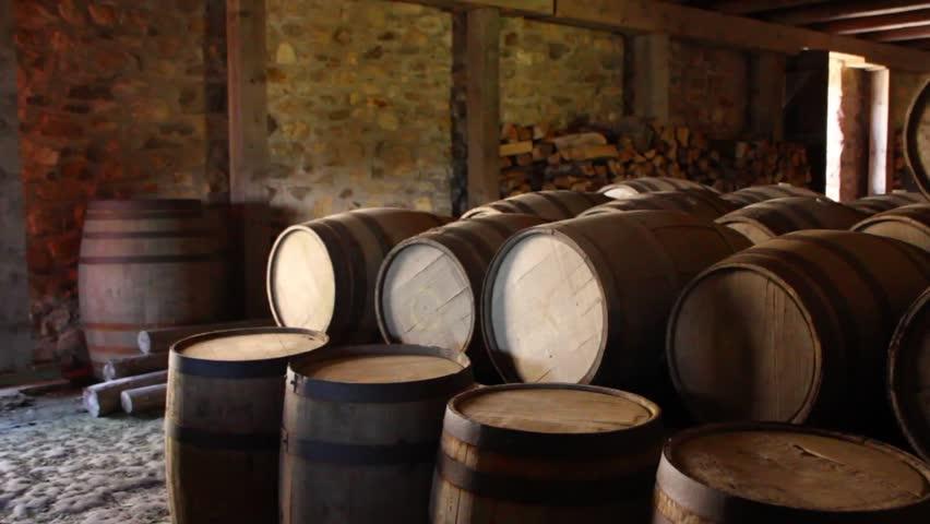 Large Barrels Stored Under the Castle