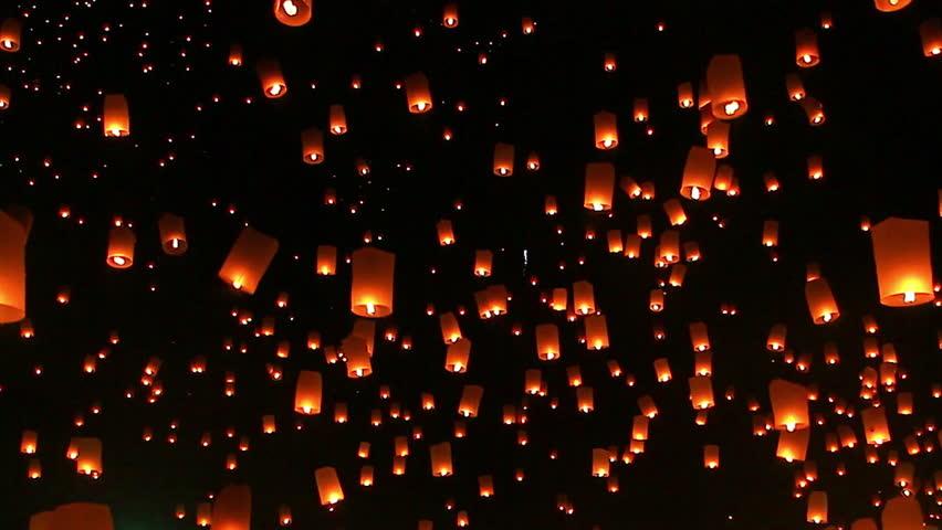 Highlight Floating lanterns in Yee Peng Festival, Loy Krathong celebration in Chiangmai, Thailand  | Shutterstock HD Video #27413314