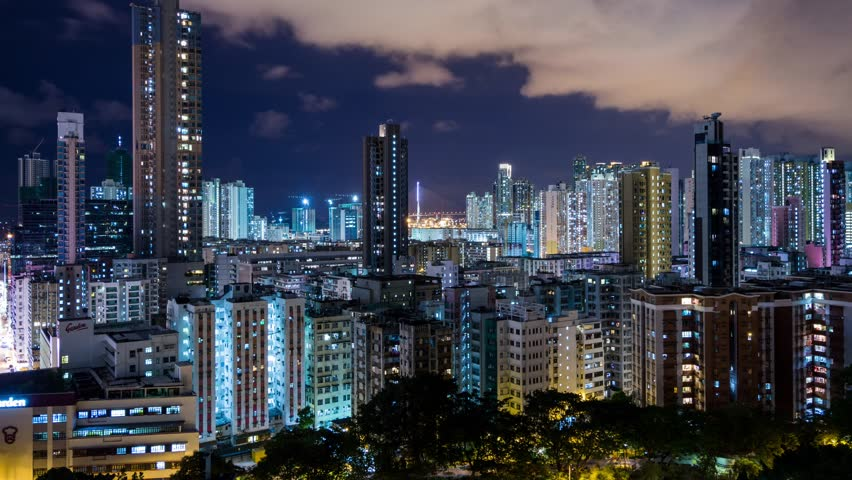 Sham Shui Po, Hong Kong, 26 May 2017 -:Hong Kong residential area at night | Shutterstock HD Video #27648385