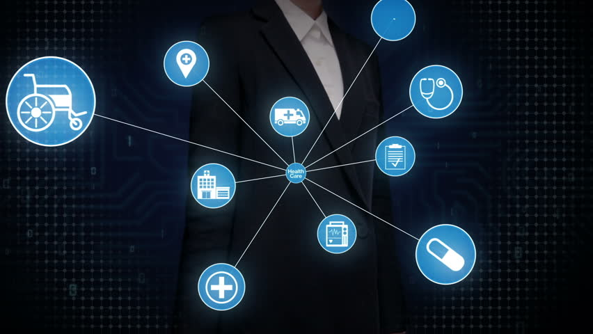 Businesswoman touching screen, Various Health care technology icon connect global world map, dots makes world map. internet of things. | Shutterstock HD Video #27780640