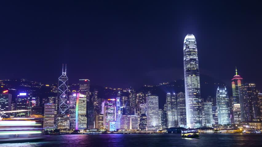 HONG KONG - JULY 31, 2012: night scene of Hongkong with light showVictoria