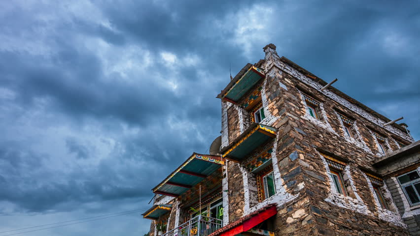 house of tibet  with motion cloud