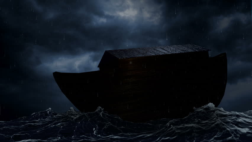Noah's Ark being tossed by waves in the middle of a rainstorm.  - HD stock video clip