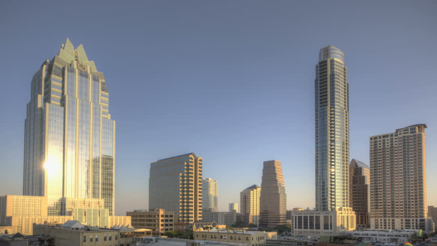 AUSTIN, TEXAS, USA, SEP 07, 2011: Sunset Time lapse of the skyline from Austin
