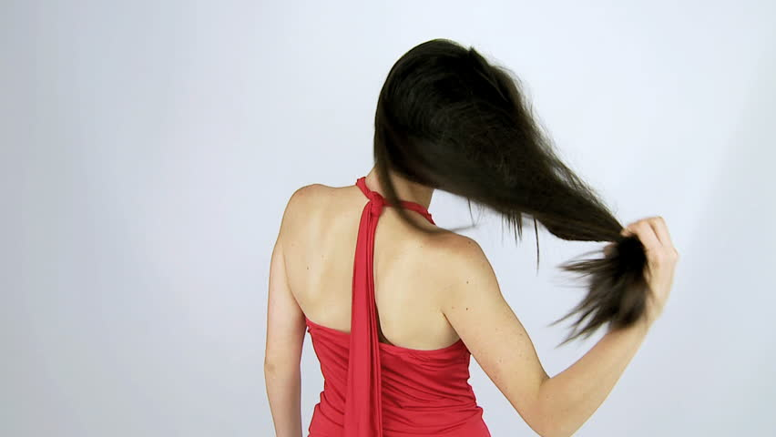 Beautiful woman moving long Gorgeous silky hair slow motion  - HD stock footage clip