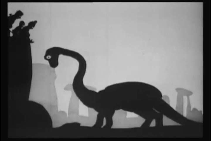 "At the ""Stonehenge Circus,"" a tightrope walker walks along a snake suspended between a brontosaur's neck and tail. The dinosaur then kills someone in the audience and tries to eat their child"