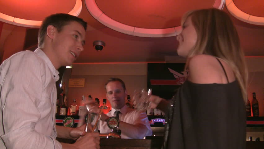 friends at the bar - HD stock footage clip
