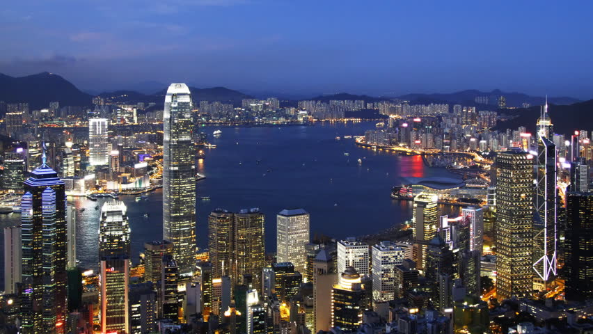 Time lapse of Blue Night in Hong Kong ( zoom in ) - Central District, Victoria Harbor, Hong Kong Island and Kowloon, Hong Kong. | Shutterstock HD Video #2817619